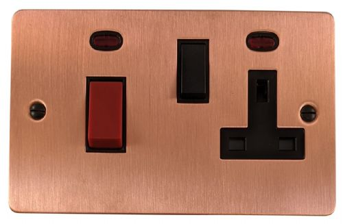 G&H FRG29B Flat Plate Rose Gold 45 Amp DP Cooker Switch & 13A Switched Socket